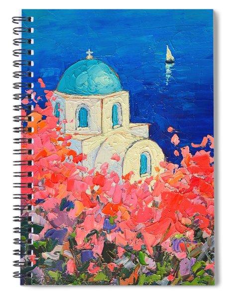 Santorini Impression - Full Bloom In Santorini Greece Spiral Notebook