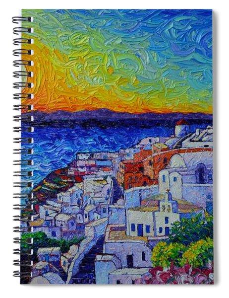 Santorini Oia Sunset Modern Impressionist Impasto Palette Knife Oil Painting By Ana Maria Edulescu Spiral Notebook