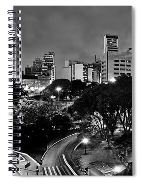 Sao Paulo Downtown At Night In Black And White - Correio Square Spiral Notebook