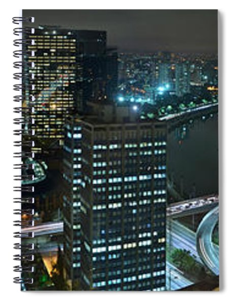 Sao Paulo Skyline Modern Corporate Districts Brooklin Morumbi Chacara Santo Antonio Spiral Notebook