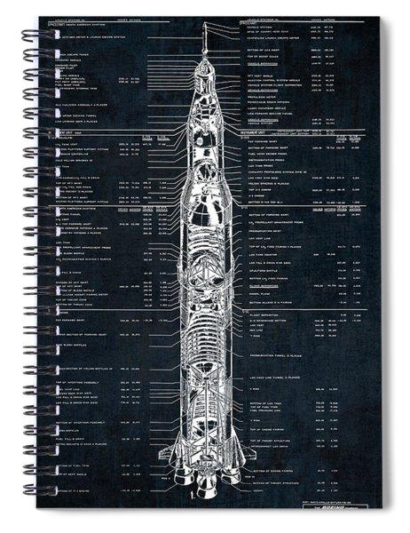 Saturn V Apollo Moon Mission Rocket Blueprint  1967 Spiral Notebook