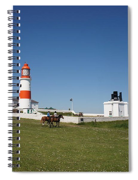 Souter Lighthouse And Foghorn. Spiral Notebook