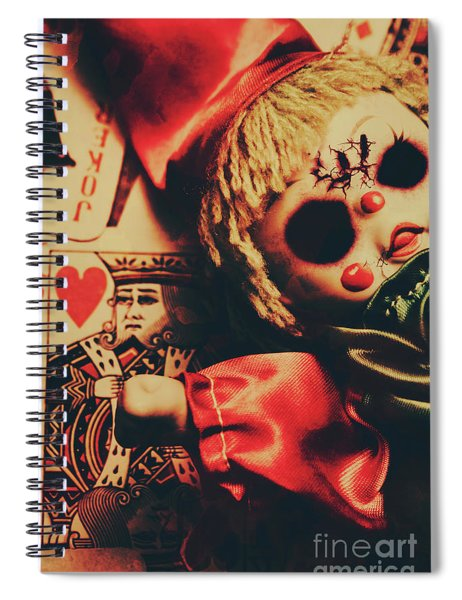 Scary Doll Dressed As Joker On Playing Card Spiral Notebook