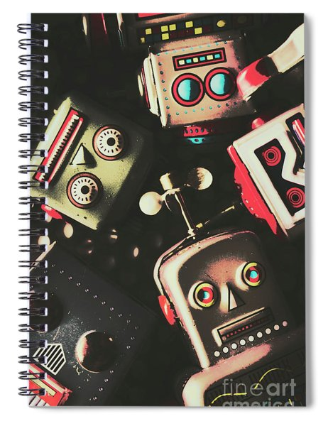 Science Fiction Robotic Faces Spiral Notebook