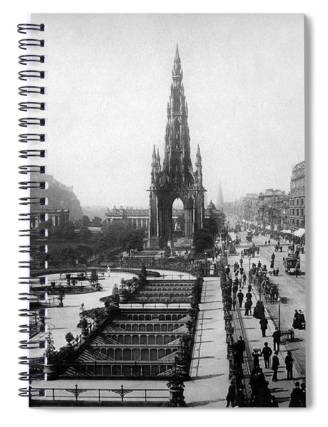 Scott Monument On Princes Street And Castle Spiral Notebook