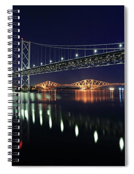 Scottish Steel In Silver And Gold Lights Across The Firth Of Forth At Night Spiral Notebook