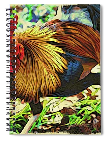 Scratching Rooster Spiral Notebook