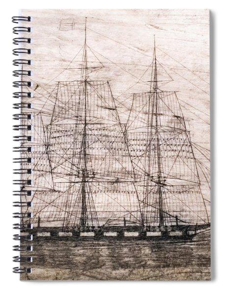Scrimshaw Whale Panbone Spiral Notebook