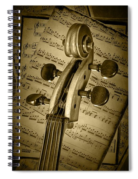 Scroll Of A Cello Stringed Instrument In Sepia Spiral Notebook