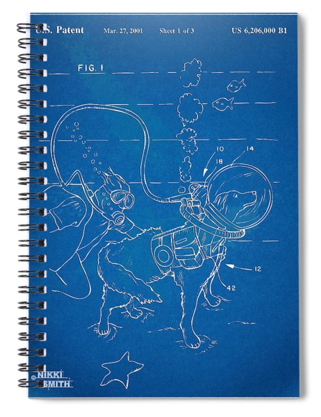 Scuba Doggie Patent Artwork 1893 Spiral Notebook