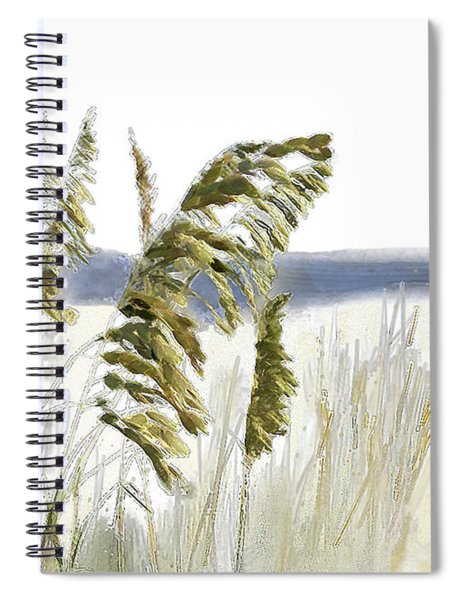 Spiral Notebook featuring the digital art Sea Oats by Gina Harrison