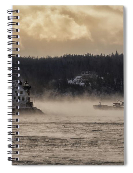Sea Smoke At Rockland Breakwater Light Spiral Notebook