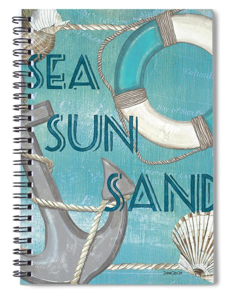 Sea Sun Sand Spiral Notebook by Debbie DeWitt