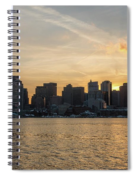 Seagull Flying At Sunset With The Skyline Of Boston On The Backg Spiral Notebook