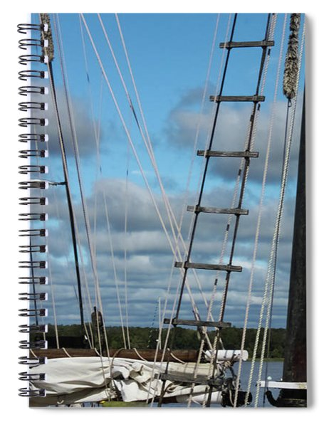 Seagull Flying Past Rigging And Ropes Of Sailing Vessel On Stomy Day With Shore And Cloudy Sky In Ba Spiral Notebook