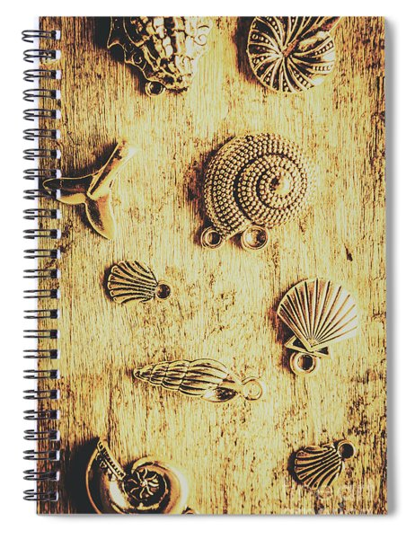 Seashell Shaped Pendants On Wooden Background Spiral Notebook