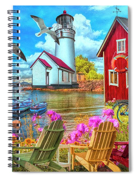 Seaside Invitation At The Harbor Painting Spiral Notebook