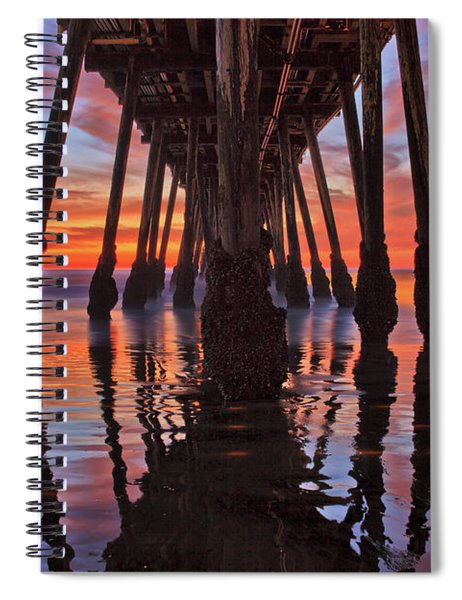 Seaside Reflections Under The Imperial Beach Pier Spiral Notebook