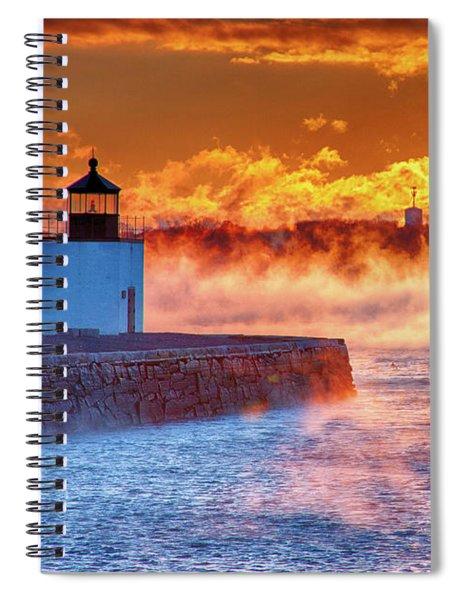 Seasmoke At Salem Lighthouse Spiral Notebook
