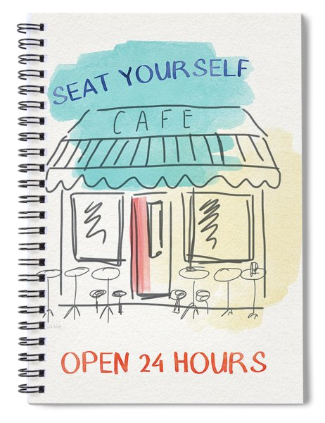 Seat Yourself Cafe- Art By Linda Woods Spiral Notebook