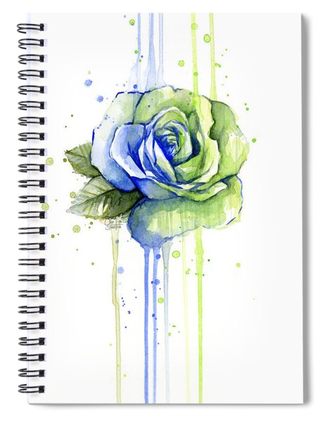 Seattle 12th Man Seahawks Watercolor Rose Spiral Notebook