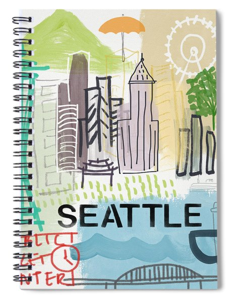 Seattle Cityscape- Art By Linda Woods Spiral Notebook