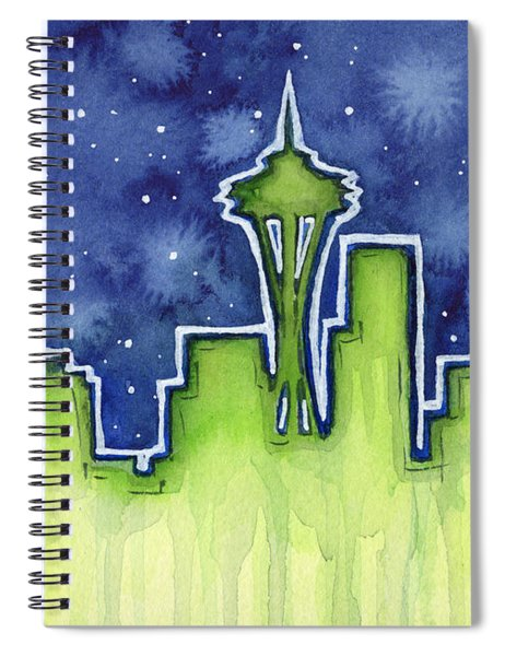 Seattle Night Sky Watercolor Spiral Notebook