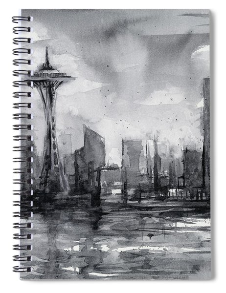 Seattle Skyline Painting Watercolor  Spiral Notebook