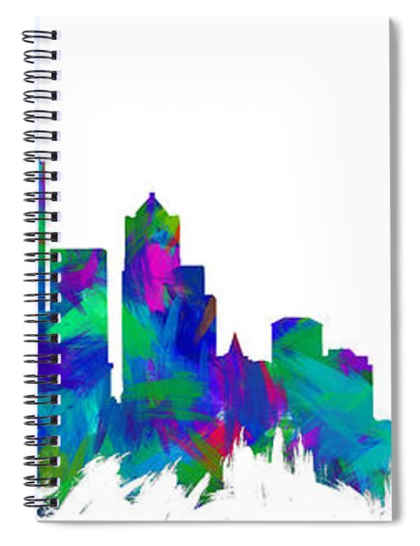 Seattle Skyline Silhouette Abstract I Spiral Notebook