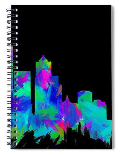 Seattle Skyline Silhouette Abstract II Spiral Notebook