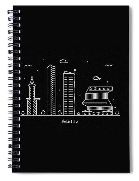 Seattle Skyline Travel Poster Spiral Notebook