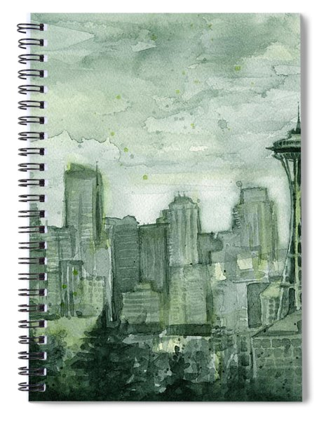 Seattle Skyline Watercolor Space Needle Spiral Notebook