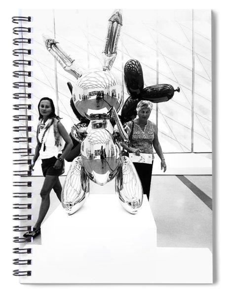 Self Portrait In Jeff Koons Mylar Rabbit Balloon Sculpture Spiral Notebook