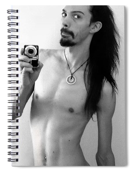 Self Portrait The Mirror Bw Spiral Notebook