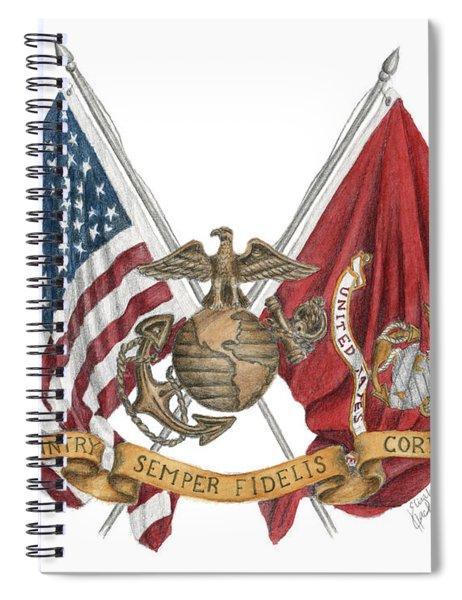 Semper Fidelis Crossed Flags Spiral Notebook