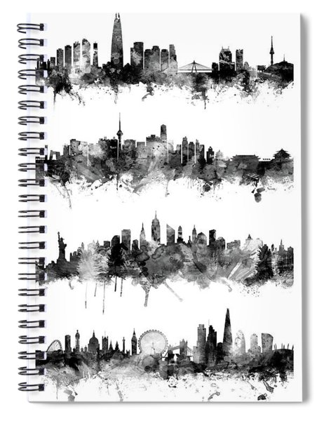 Seoul, Beijing, New York And London Custom Skyline Collection Spiral Notebook