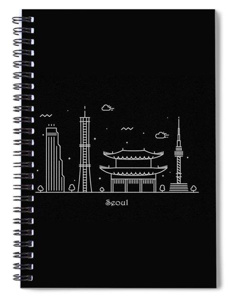 Seoul Skyline Travel Poster Spiral Notebook