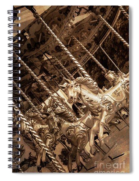 Sepia Carousel Horse Spiral Notebook