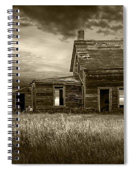 Sepia Tone Of Abandoned Prairie Farm House Spiral Notebook