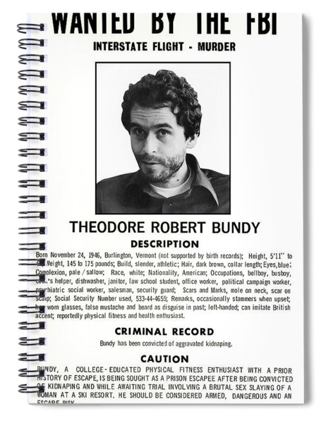 Serial Killer Ted Bundy Spiral Notebook