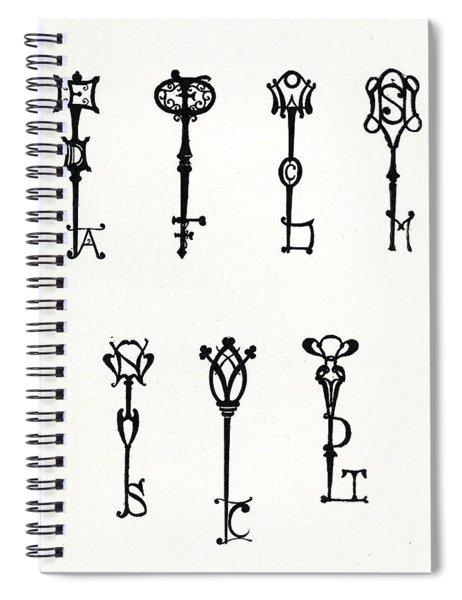 Seven Designs Of Initial Keys Spiral Notebook