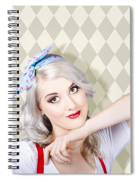 Sexy Retro Blond Hair Pinup Girl. Classic Make-up Spiral Notebook