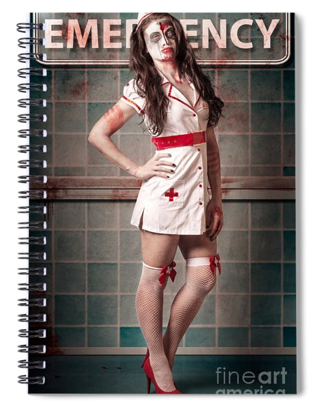 Sexy Zombie Medical Emergency Nurse In Hospital Er Spiral Notebook