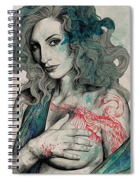 Sgnl-05 - Seminude Street Art Portrait, Topless Lady With Swan Tattoo Spiral Notebook