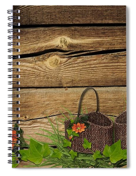 Shabby Chic Flowers In Rustic Basket Spiral Notebook