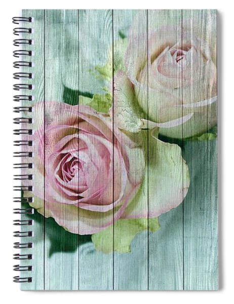 Shabby Chic Pink Roses On Blue Wood Spiral Notebook