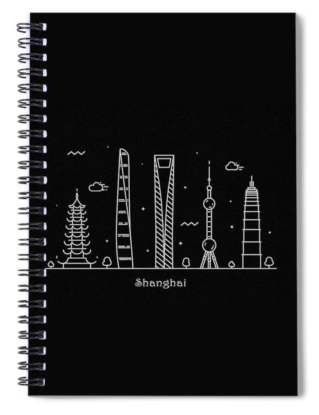 Shanghai Skyline Travel Poster Spiral Notebook