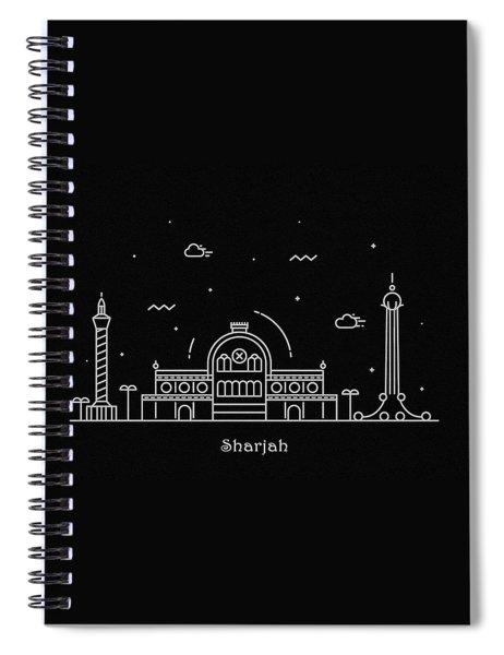 Sharjah Skyline Travel Poster Spiral Notebook
