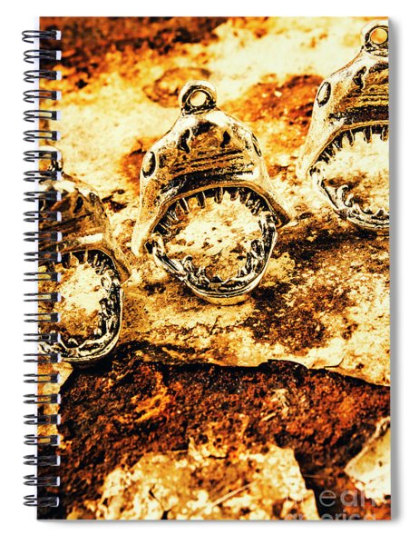 Shark Pendants On Rusty Marine Background Spiral Notebook