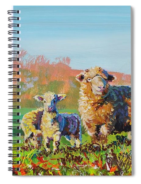 Sheep And Lambs In Devon Landscape Bright Colors Spiral Notebook